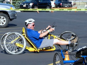 Just test driving a bike for the disabled. Hard work. Managed to crash it when a car tried to reverse into me.