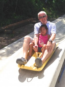Angela squeals down the Alpine slide.