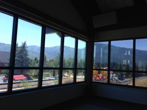 Yoga class at local gym with  soothing mountain views.
