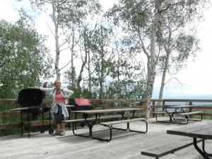 Barbecues ready, and they're clean, along with picnic tables.