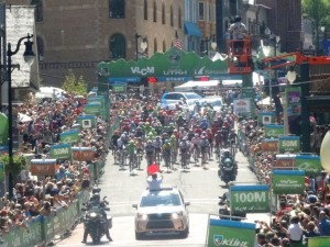 And they're off. Tour Of Utah Bike race.