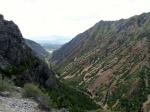 Timpanogos cave - view towards Salt Lake.