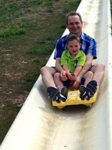 Jerome and Britain do the alpine slide.