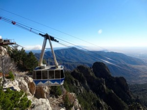 Sandia Peak tramway. Being tight we drove up and walked across Sandia Crest.
