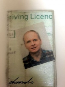 My paper driving license complete with loose picture to fool the gullible.