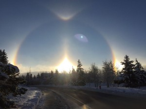"""Waiting for the bus. 20"""" new snow and multiple rainbows."""