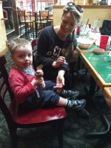 Chocolate ice cream (his new favourite word)  at the Baja Cantina.