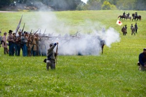Battle of Tunnel Hill - Confederates rifle volley.