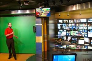 CNN studio and green screen.