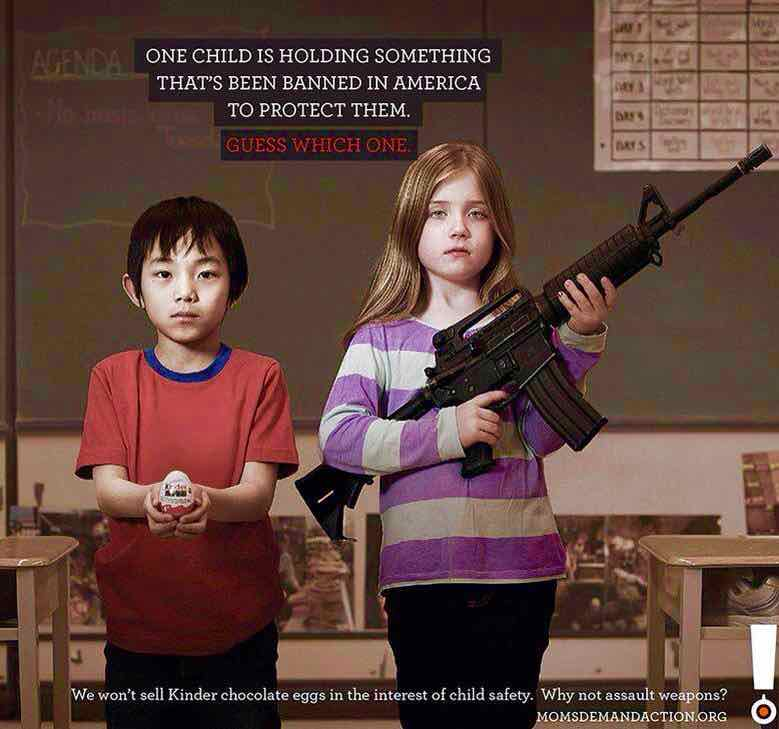 One child is holding something that has been banned in America to protect them. God bless the 2nd and don't F..k with the NRA. Madness.