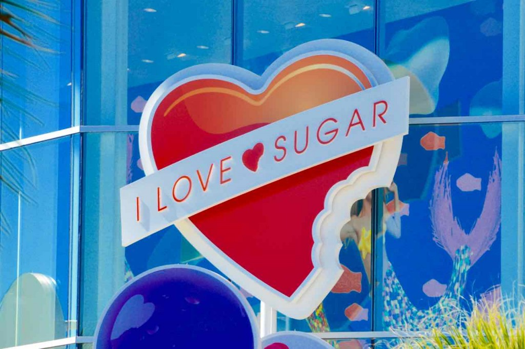The American answer to sugar tax, have a store dedicated to sugar. There's not a weight watchers convention on after all, they've all been in here.