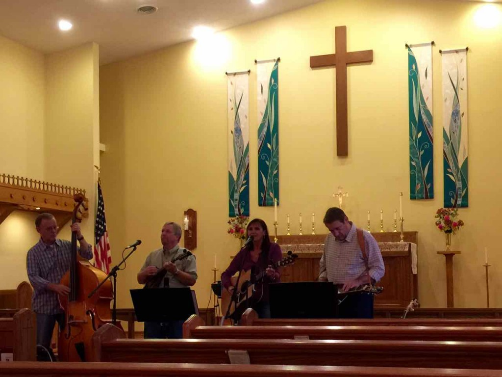 Blue Grass music and fish supper at an Anglican church.