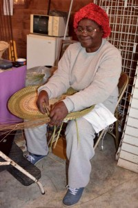 Maker of our Sweetgrass Basket in action.