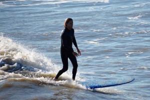 Surfing off Folly beach.