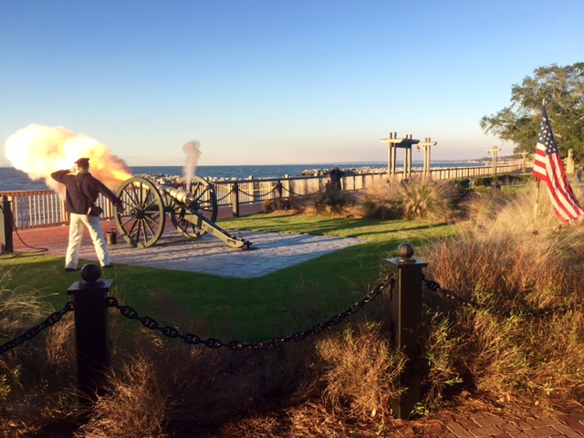 Cannon firing at the Marriott Grand hotel Fairhope.