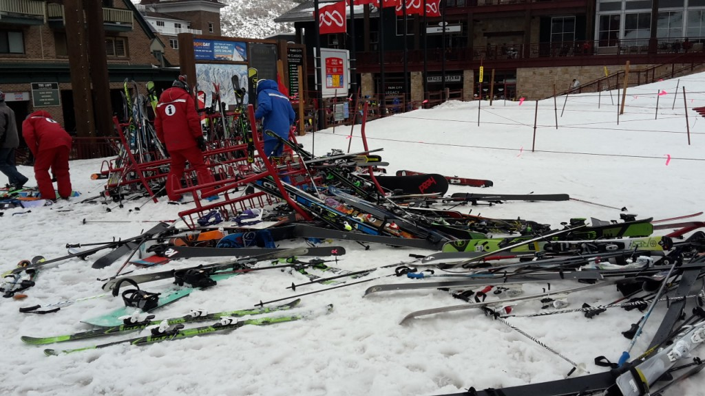 Gale force winds even knock over ski racks. But why are they bothering to pick up snowboards?