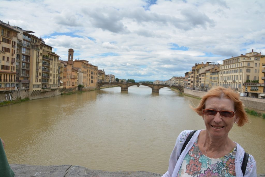 Wendy in front of not so famous a bridge in Florence.