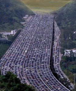 Typical LA Freeway. That's me silver car,  right hand side, 4th lane to the left, about halfway up.