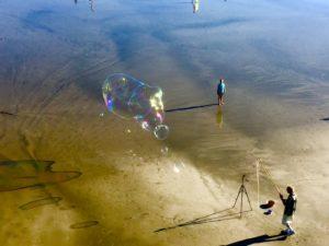 Bubbles on the beach.